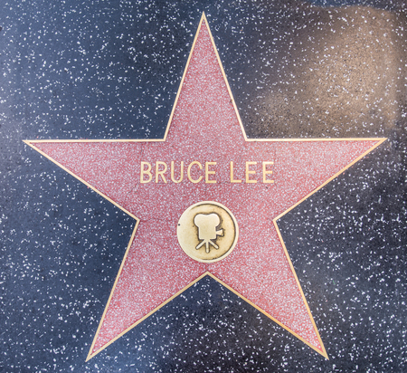 celebrities: HOLLYWOOD - OCTOBER 8, 2016: Bruce Lees star on Hollywood Walk of Fame in Hollywood, California. This star is located on Hollywood Blvd. and is one of 2400 celebrity stars. Editorial