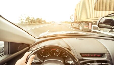 horse traction: Sport car driving on the highway Stock Photo