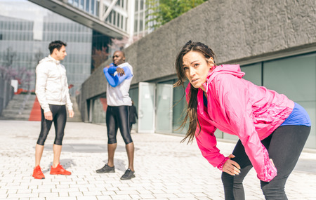area sexy: Group of urban runners making sport in an urban area