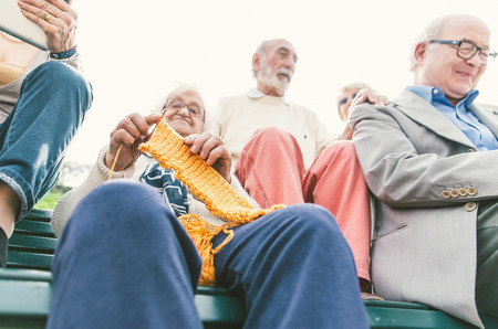 old people: old people group making activities outdoor