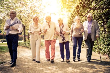 Grupa ol ludzi spaceru na świeżym powietrzu Zdjęcie Seryjne