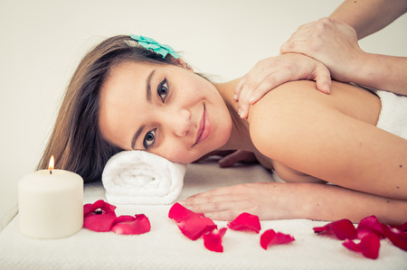 spa woman: Asian woman making massage at the spa Stock Photo