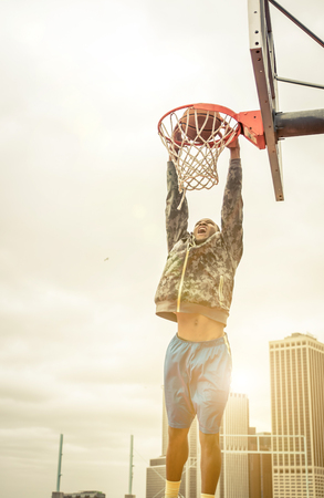 Huge slam dunk Stock Photo