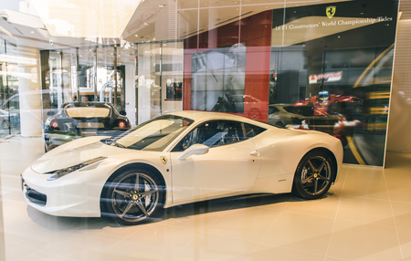 officially: Tokyo, Roppongi. February 9, 2015. The Ferrari 458 Italia in a Ferrari car delear store.  The 458 replaced the Ferrari F430, and was first officially unveiled in 2009.