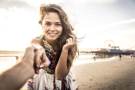 santa monica: Happy couple on the beach Stock Photo