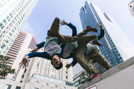 BACKFLIP: parkour athlete in action