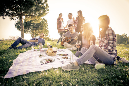 Gruppe von Freunden Spaß haben, während bei einem Picknick zu essen und zu trinken - Glückliche Menschen bei Grillparty Standard-Bild