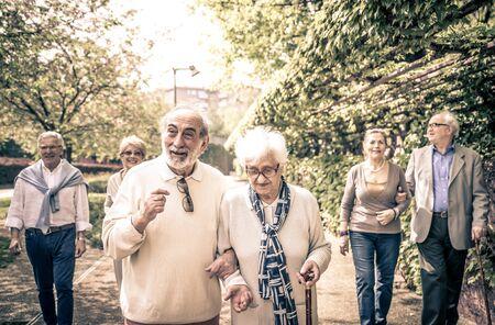 Groupe de personnes âgées en plein air à pied