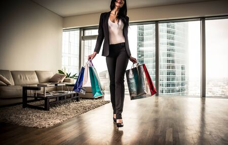 going out: Rich woman going out for shopping