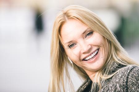 Blonde adult woman portrait