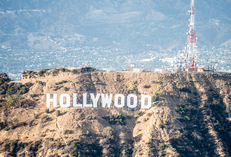 20th: HOLLYWOOD, CA - SEPTEMBER 28, 2016: Hollywood sign and Los angeles view from helicopter.Originally created as advertisement for real estate development.