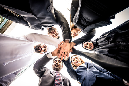 Arabic and western business people portrait. Motivational concept Stock Photo