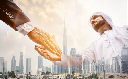 Business situation in Dubai Stock Photo