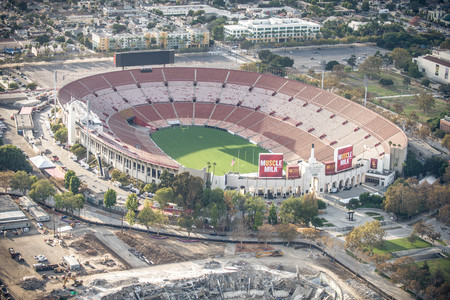 la: LOS ANGELES, USA - SEPTEMBER 28, 2016: Los Angeles Memorial Coliseum, view from above