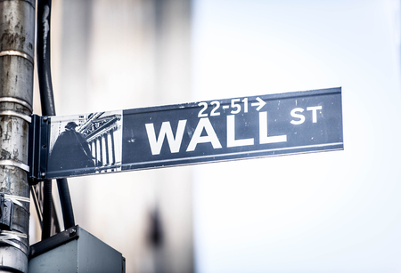 Wall Street sign hanging on a pole, New York