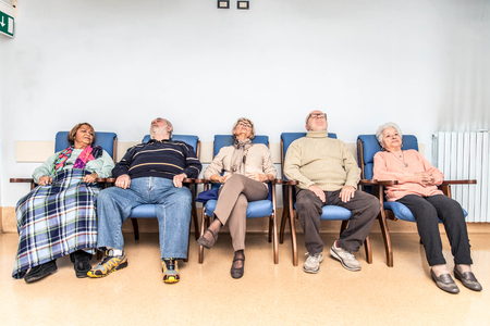 elderly adults: Senior adults in a nursing home for the elderly doing leisure activities