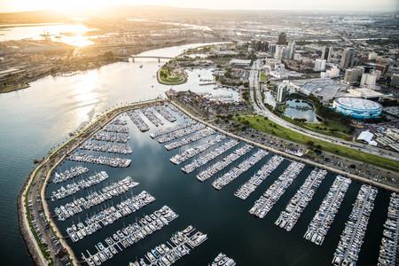 Aerial view of Redondo Beach Marina near Los Angeles, California.