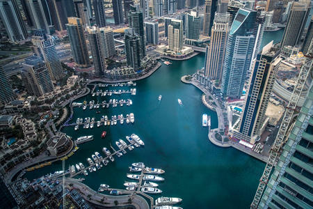 Aerial Shot of Dubai Marina Walk showing the charming architectures in UAE Stock Photo - 84028230