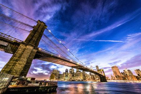 View of Brooklyn Bridge and Manhattan skyline Editorial