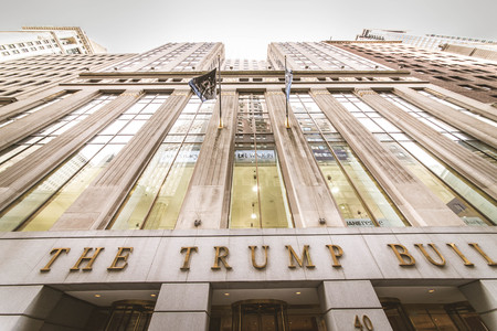 New York City USA - SEptember 26, 2015: The Trump Building on Wall Street. In 1995 President Donald Trump bought the building that is now known as The Trump Building.