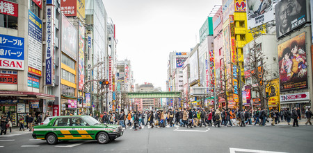 TOKYO, JAPAN - FEBRUARY 7, 2015: Akihabara Electric Town in Tokyo. Akihabara is a popular shopping district for video games anime manga and computer goods. One of the most attracting place in Tokyo.