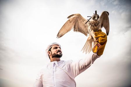 Arabian man walking  in the desert at sunrise 版權商用圖片 - 77167303