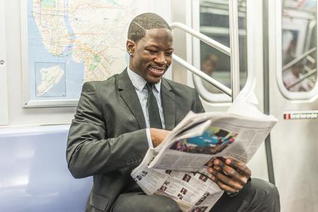 Businessman in full suit in New York subway metro