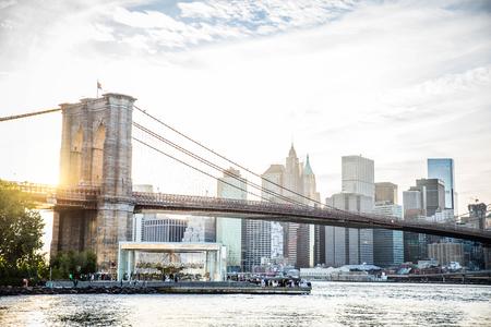 View of Brooklyn Bridge and Manhattan skyline Stock Photo