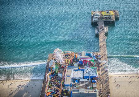 santa monica: Santa Monica pier, drone view
