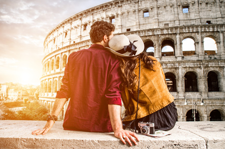 Couple of tourist on vacation in Rome