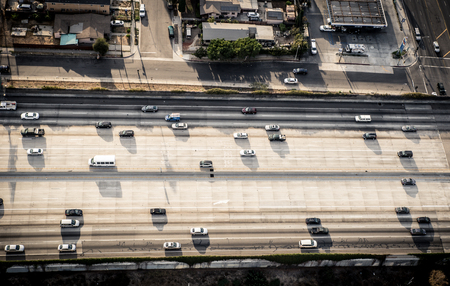 forked road: Los angeles aerial view from helicopter Editorial