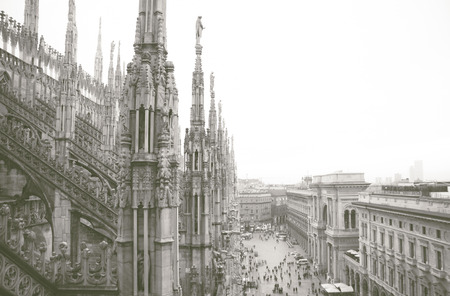 Milan, duomo aerial view from the top of the cathedral Stock Photo