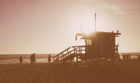 Beach life guard house in California