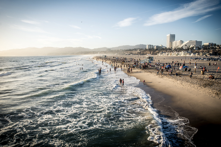 Santa monica beach at sunset time