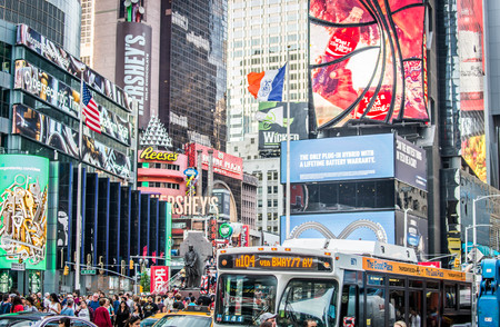NEW YORK CITY - SEPTEMBER 17, 2016: Times Square, featured with Broadway Theaters and LED signs, is a symbol of New York City and the United States 新聞圖片