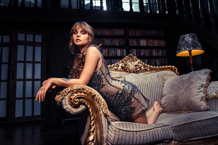 boudoir: Breautiful woman in black dress