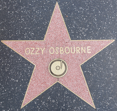 HOLLYWOOD,CA - OCTOBER 8, 2015: Ozzy osbourne tribute on the Walk of Fame. This star is located on Hollywood Blvd. and is one of 2400 celebrity stars Stock Photo