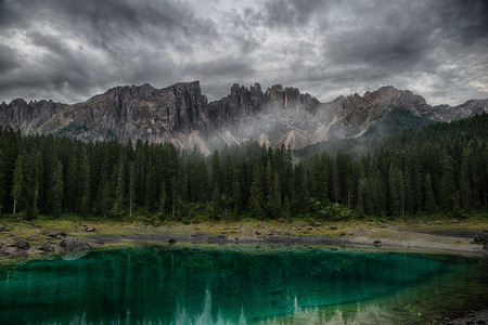 Lake Carezza, Italian Alps, South Tyrol, Dolomites, Italy Stock Photo - 86055318
