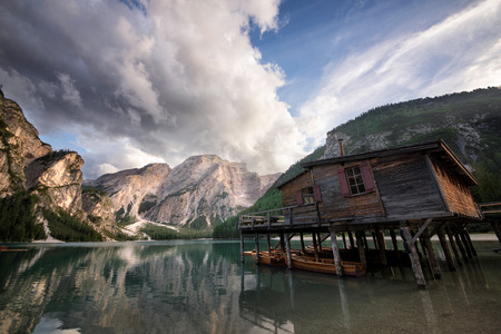 Beautiful landscape shot on the italian alps with mountain lakes