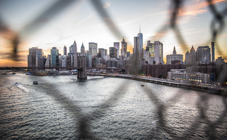 New york city buildings view at sunset Редакционное