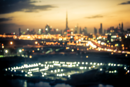 Blurred aerial view of Dubai at night time Stock Photo