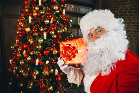 Santa claus portraits and lifestyle. Making selfie with christmas decoration