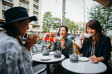 Group of japanese women spending time in Tokyo