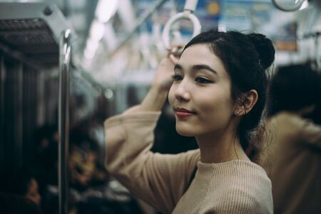Beautiful japanese woman in the metro station