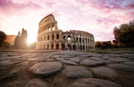 Beautiful colosseum in Rome. Landmark photography about italian monuments