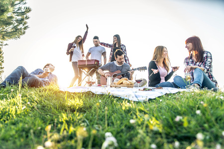 Groep vrienden die picknick in een park op een zonnige dag hebben - Mensen die plezier hebben terwijl ze grillen en ontspannen