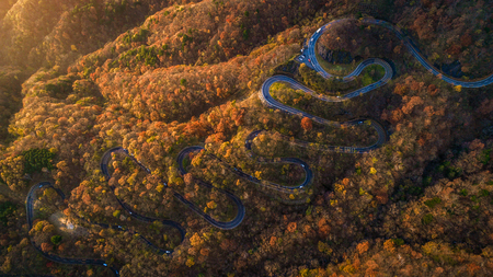 Narrow street between woodland, drone's view - Irohazaki winding road, Nikko Archivio Fotografico