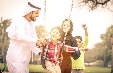 Arabian family portrait in the park