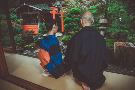 Senior couple lifestyle moments in a traditional japanese house