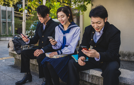 Group of japanese teenagers, lifestyle moments in a school day
